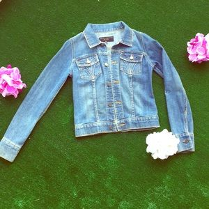 Juicy Couture jean jacket. Faded& distressed look